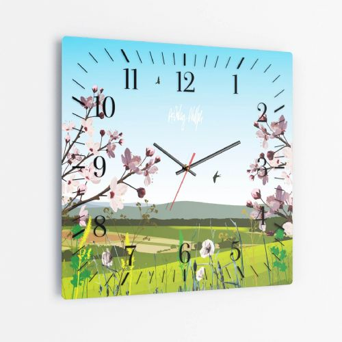 British Countryside Blue - Square Glass Clock